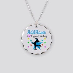 LOVE FIGURE SKATING Necklace Circle Charm