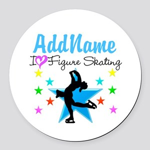 LOVE FIGURE SKATING Round Car Magnet