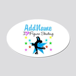 LOVE FIGURE SKATING 20x12 Oval Wall Decal