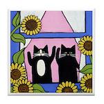 Bye Bye Mama Black CATS w Sunflowers ART Tile
