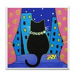 Black City CAT w Catnip MOUSE ART Tile