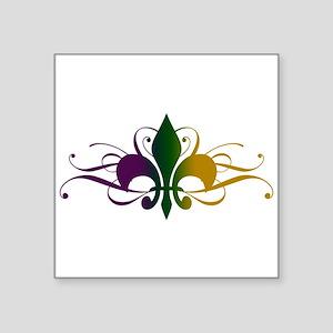 """fleur-de-lis-swirls_color Square Sticker 3"""" x"""