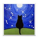 Black CAT Starry Night MOON ART Tile