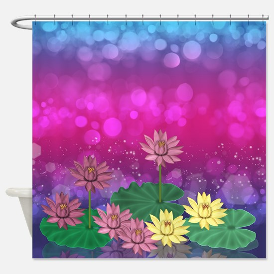 Water Lily Lotus Flowers And Leaves Shower Curtain