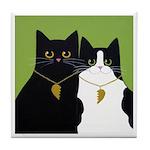 Black & Tuxedo CATS w Heart in Love ART Tile
