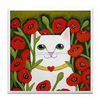 White CAT & RED Poppies ART Tile