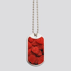 Red Gumdrop Hearts Dog Tags