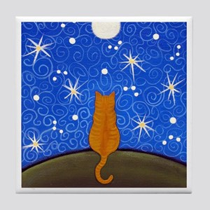 Dark Orange Tabby CAT Starry Night Moon ART Tile