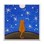 Dark Orange Tabby CAT Starry Night Moon ART Tile