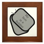 My Son is a Soldier dog tag Framed Tile