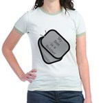 My Son is a Soldier dog tag Jr. Ringer T-Shirt