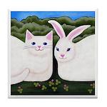 White CAT & Bunny Rabbit ART Tile