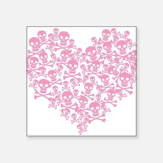 "skullheartpink_tr.png Square Sticker 3"" x 3"""