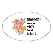 Dragon Girl Oval Sticker