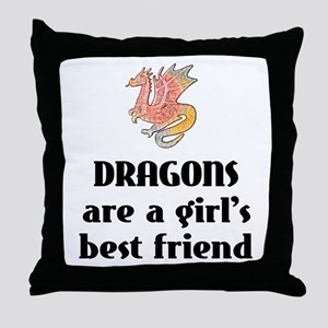 Dragon Girl Throw Pillow