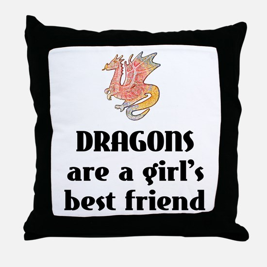 Dragon Girl Throw Pillow