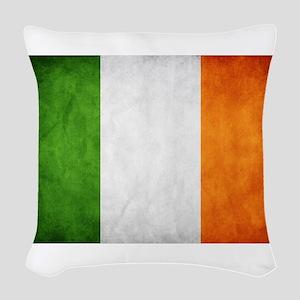 antiqued Irish flag Woven Throw Pillow