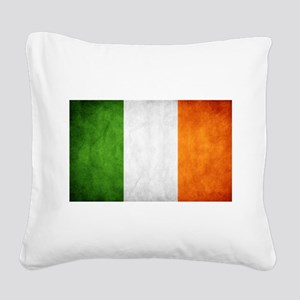 antiqued Irish flag Square Canvas Pillow