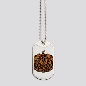 Damask Pattern Pumpkin Dog Tags