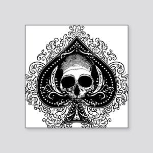"ace-spades-skull_wh Square Sticker 3"" x 3"""
