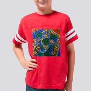 Bright Blue Abstract Flower Youth Football Shirt