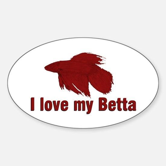 I Love My Betta Oval Decal