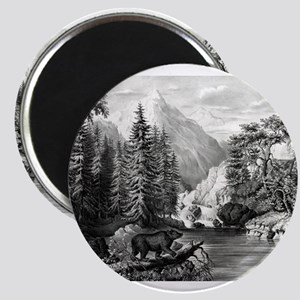The mountain pass, Sierra Nevada - 1867 Magnet