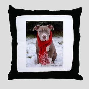 Winter Pit Bull Throw Pillow