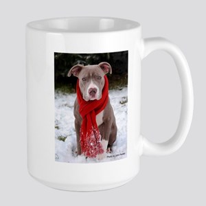 Winter Pit Bull Large Mug