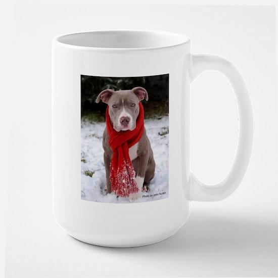 Winter Pit Bull Large Mug