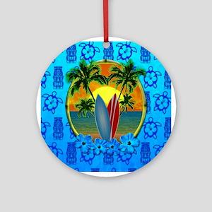 Surfing Sunset Honu Ornament (Round)
