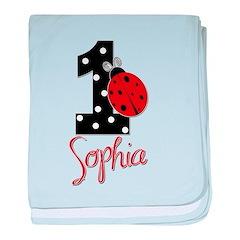 SOPHIA Ladybug 1st Birthday 1 baby blanket