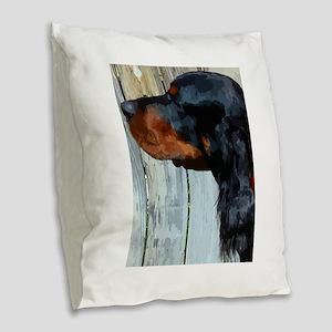 Painted Gordon Setter Burlap Throw Pillow