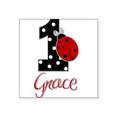 GRACE Ladybug 1st Birthday 1 Sticker