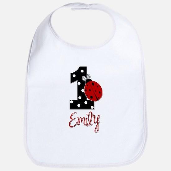 EMILY Ladybug 1st Birthday 1 Bib