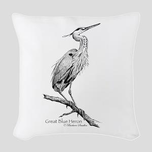Great Blue Heron Woven Throw Pillow
