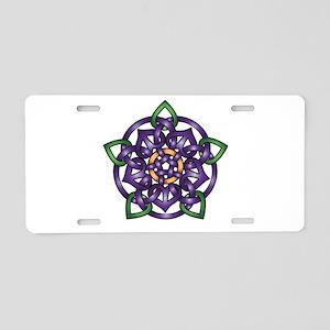Purple Celtic Rose Aluminum License Plate