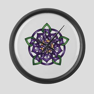 Purple Celtic Rose Large Wall Clock