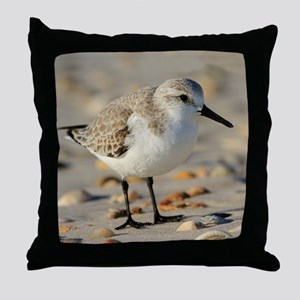Sand Piper and Seashells Throw Pillow