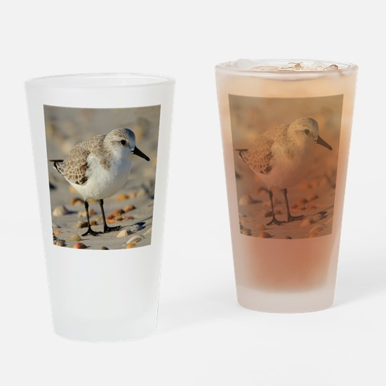 Sand Piper and Seashells Drinking Glass