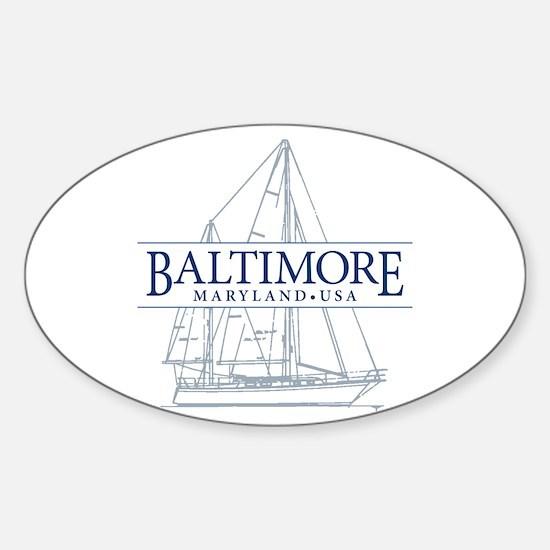 Baltimore Sailboat - Sticker (Oval)