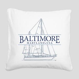 Baltimore Sailboat - Square Canvas Pillow