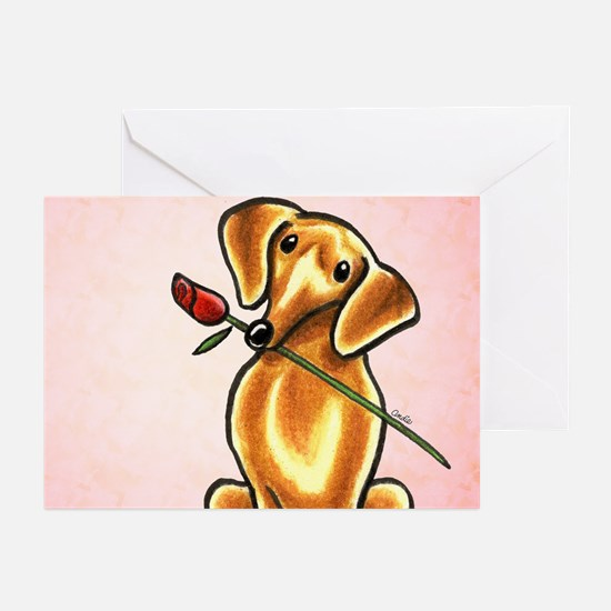 Red Dachshund Rose Pink Greeting Cards (Pk of 20)