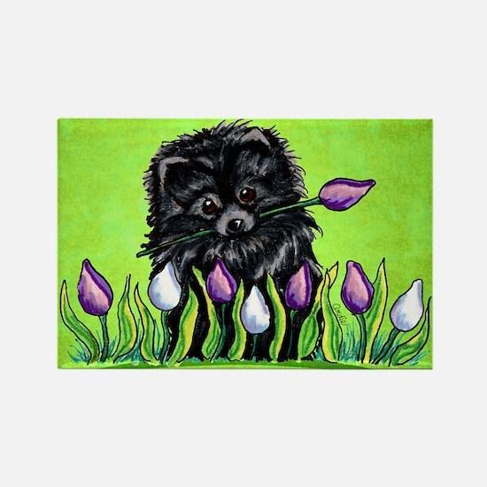 Black Pom Tulips Green Rectangle Magnet