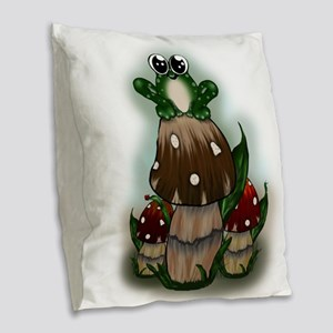 Freckled Frog Sitting on Mushrooms (txt) Burlap Th
