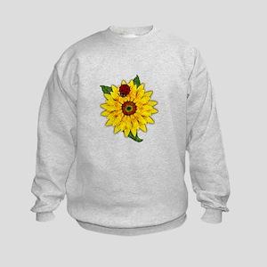 Mosaic Sunflower with Lady Bug Sweatshirt