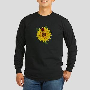 Mosaic Sunflower with Lady Bug Long Sleeve T-Shirt