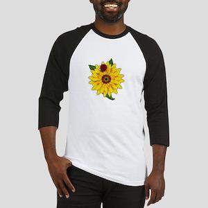 Mosaic Sunflower with Lady Bug Baseball Jersey