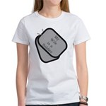 My Wife is a Soldier dog tag Women's T-Shirt