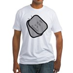 My Wife is a Soldier dog tag Fitted T-Shirt